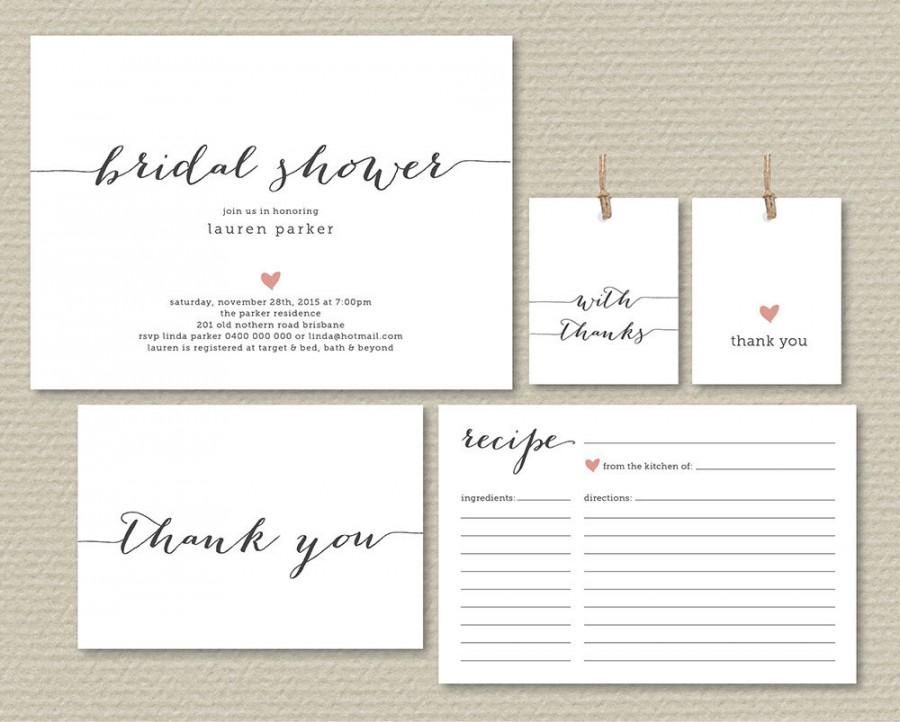Printable Bridal Shower Invitation Recipe Card Thank You Favor Tags Simple Sweet Love Heart Design Pp47