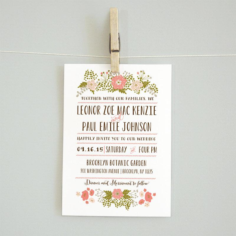 Fl Printable Diy Wedding Invitation Suite Rsvp Card Reception Details Accommodations Leonor