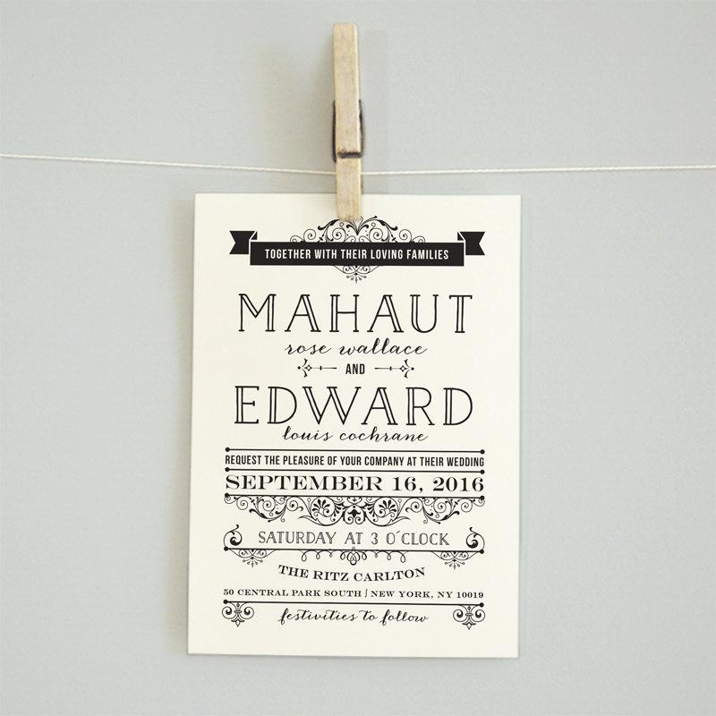 Printable Wedding Invitation Reception Card Rsvp Details Accommodation Vintage Edwardian Mahaut
