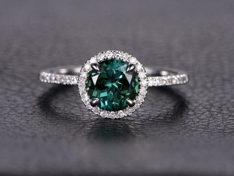 7mm Round Cut Blue Tourmaline Engagement Ring Halo 14k White Gold October Birthstone Pave Diamond