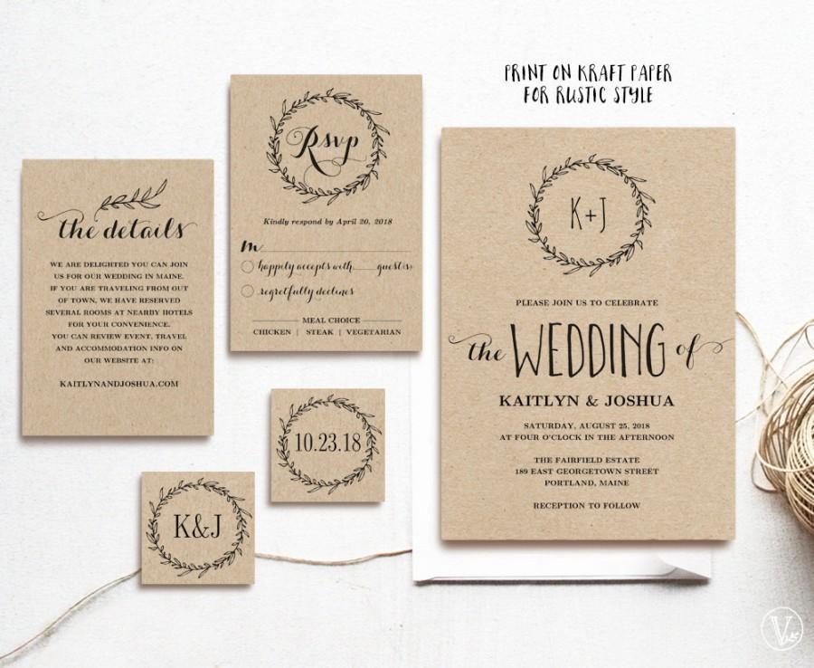 Clic Wreath Printable Wedding Invitation Template Rustic Kraft Invitations 3 Colors Included Editable Text