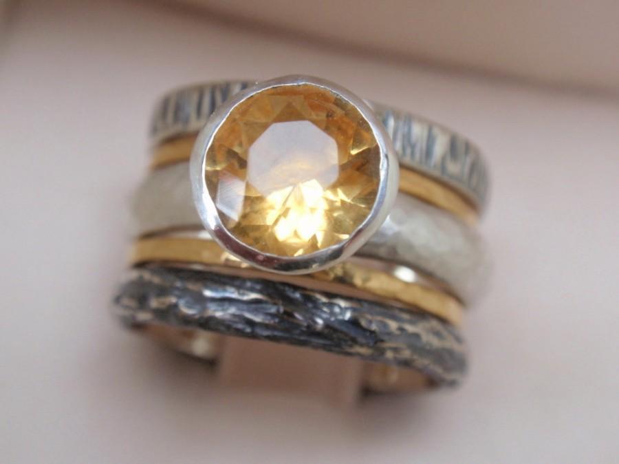 Citrine Ring Engagement Ring Set 5 Natural November Birthstone