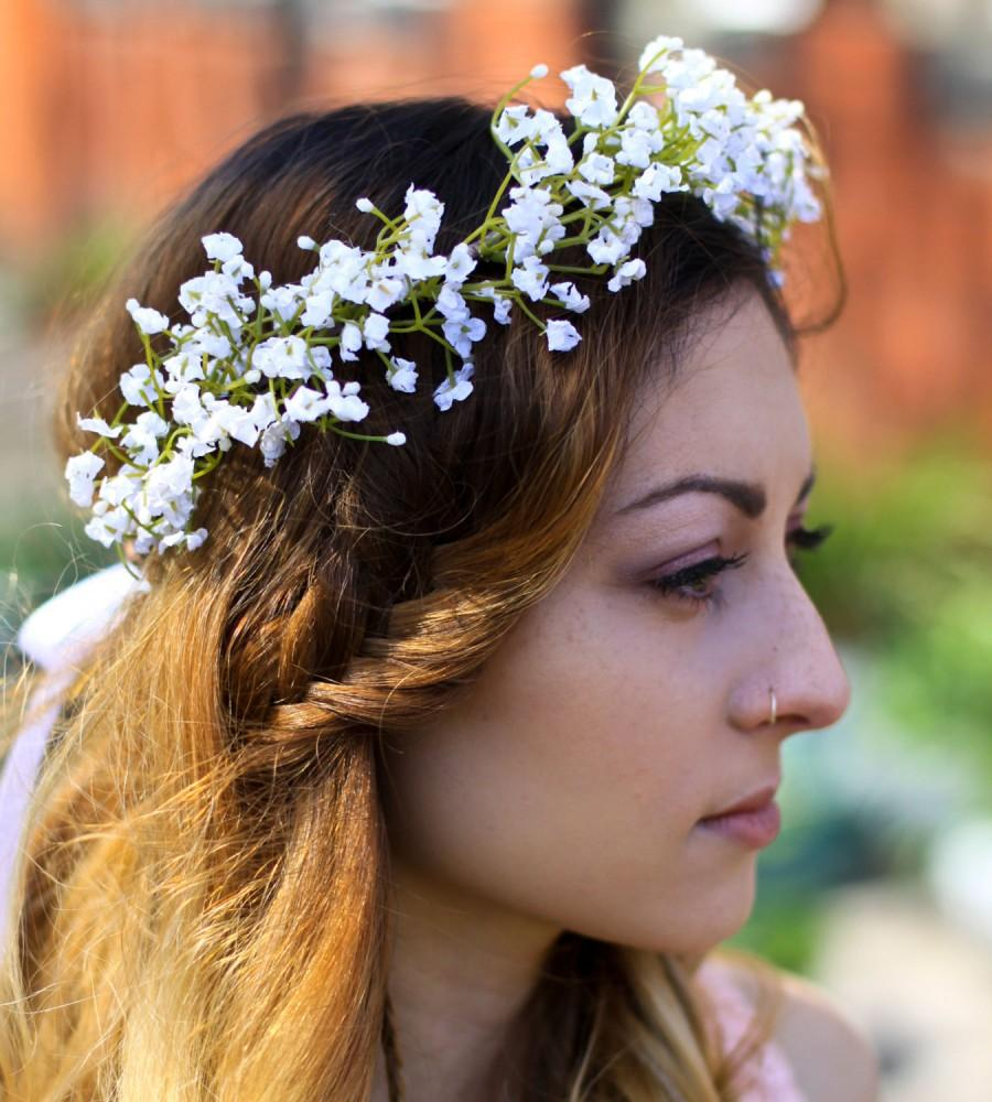 white gypsophila crown, babys breath flower crown, babays breath