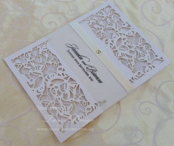 Laser Cut Wedding Invitation X24 Pocket Invitations Vintage Lace Pattern Design Lasercut With Rsvpcards