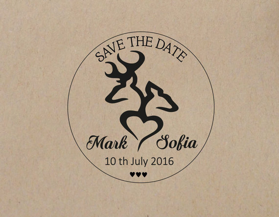 Wedding Stamp Deer Personalized Rustic Buck And Doe Save The Date