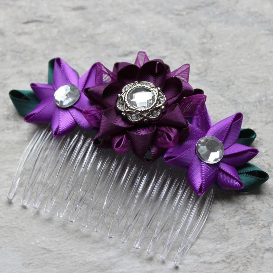 purple hair comb, purple flower comb, deep purple hair accessories