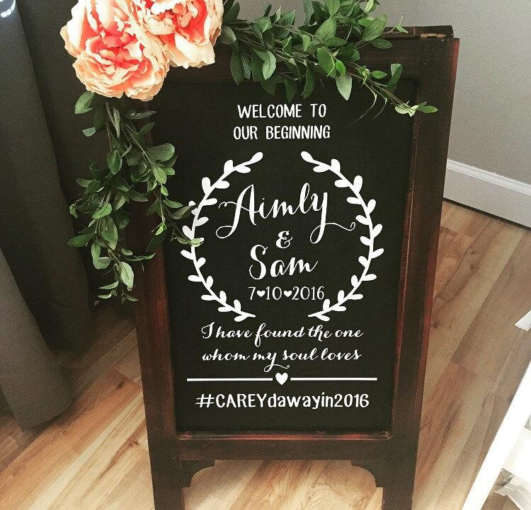 Welcome Wedding Chalk Board Sign Easel To Our Beginning