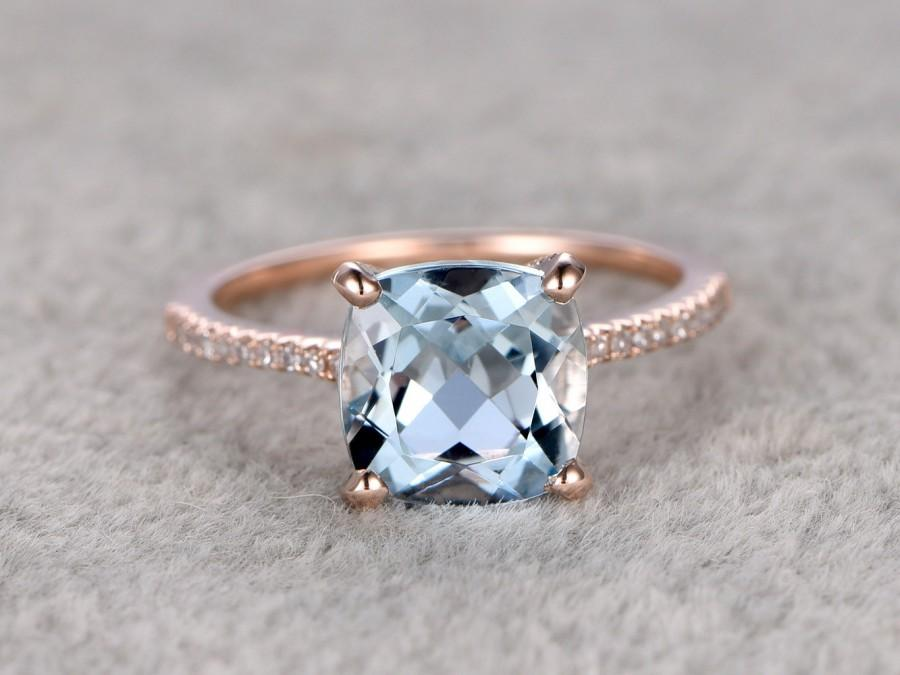 Lovely 2.3ct Cushion Natural Aquamarine Ring!Diamond Engagement Ring Rose  UD07