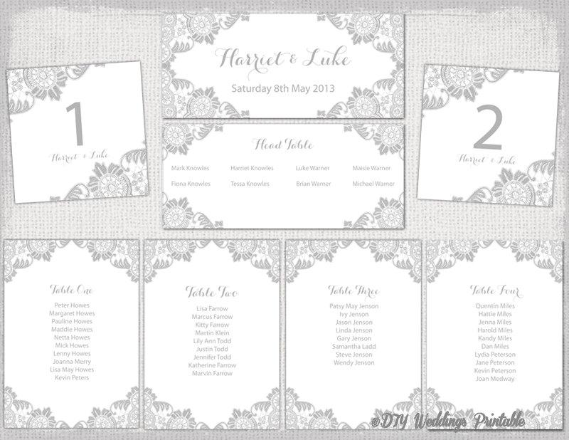 Wedding Seating Chart Template Silver Gray Antique Lace Printable Table Plan Cards Diy Word Instant