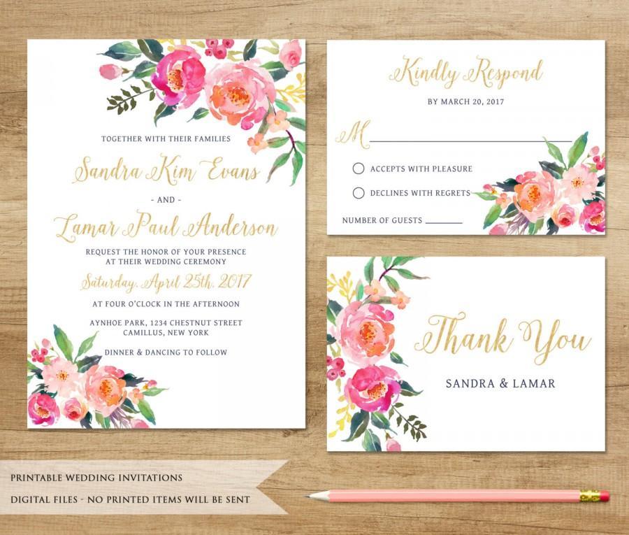Watercolor Fl Wedding Invitation Printable Boho Customized