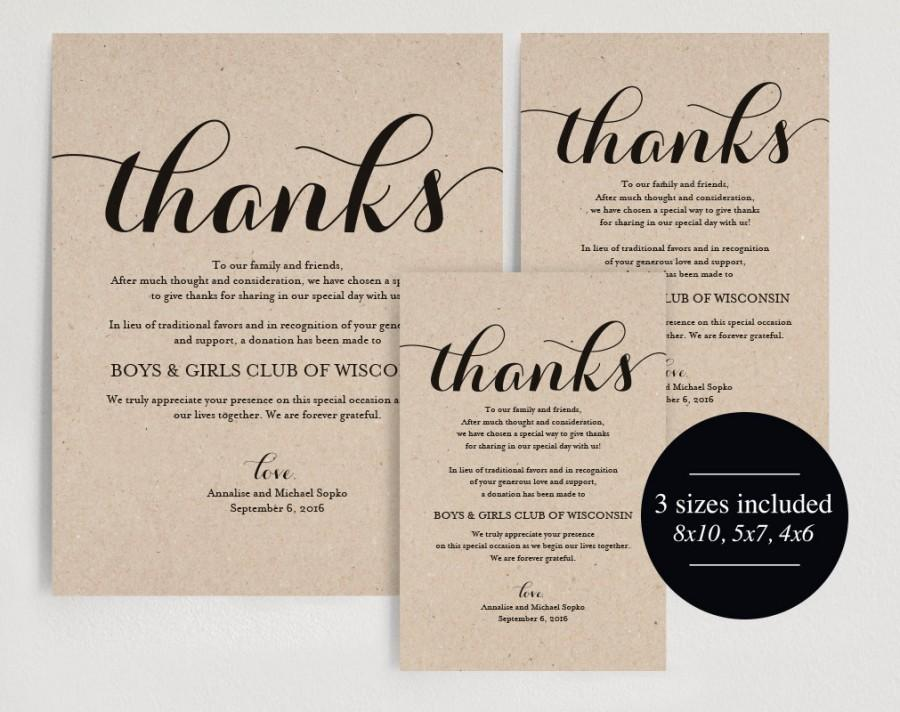 In Lieu Of Wedding Favors Donation Sign Charity Printable Thank You Pdf Instant