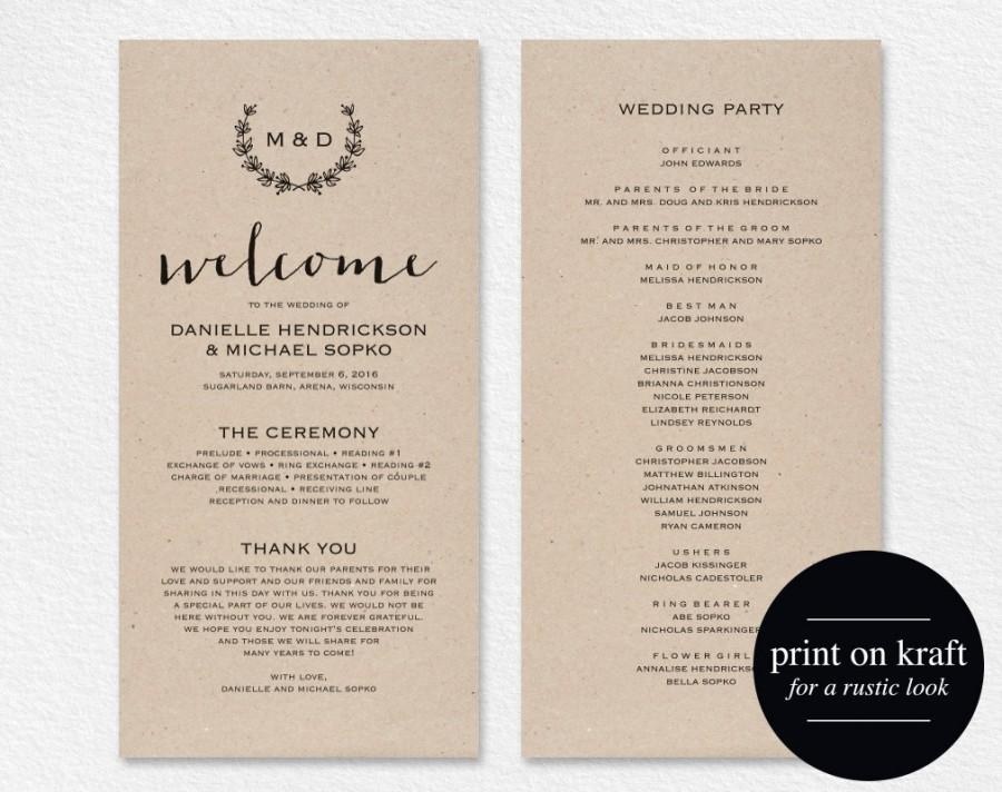 Rustic Wedding Program Template Printable Wreath Diy Ceremony Pdf Instant