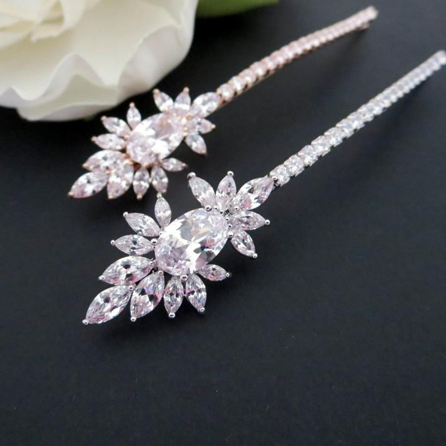 Bridal Hair Pins Rose Gold Pin Wedding Headpiece Clip Comb Cz Crystal Art Deco
