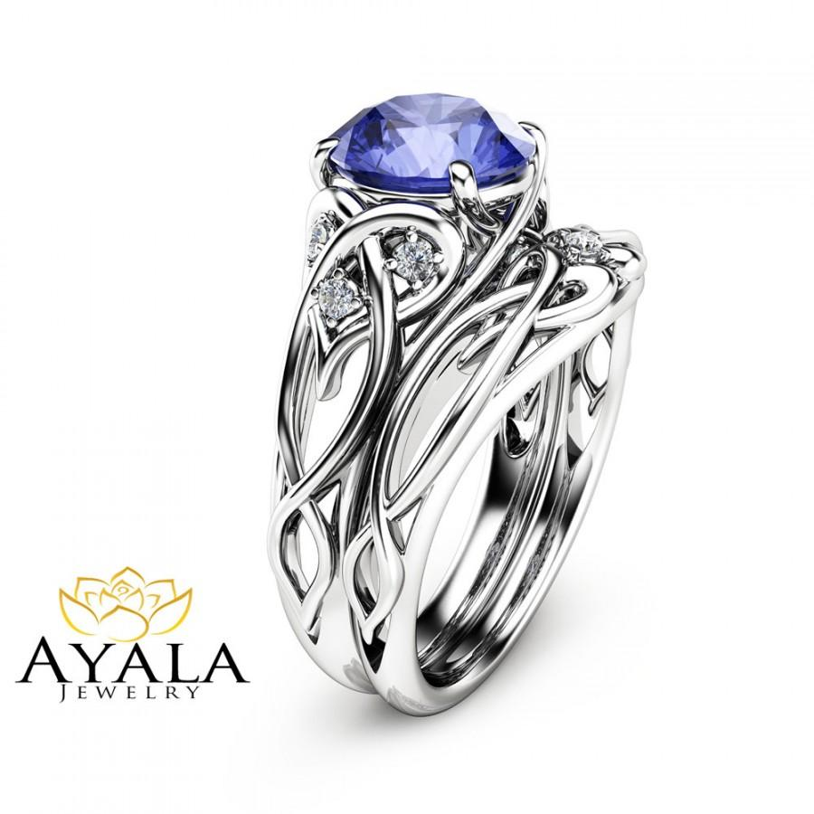 2 Carat Tanzanite Unique Engagement Rings 14k White Gold Ring Set Design