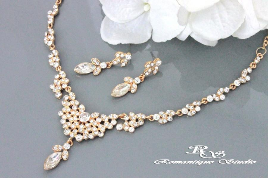 Gold Jewelry Set Necklace Rhinestone Earrings Bridal Bridesmaid Wedding S0152g