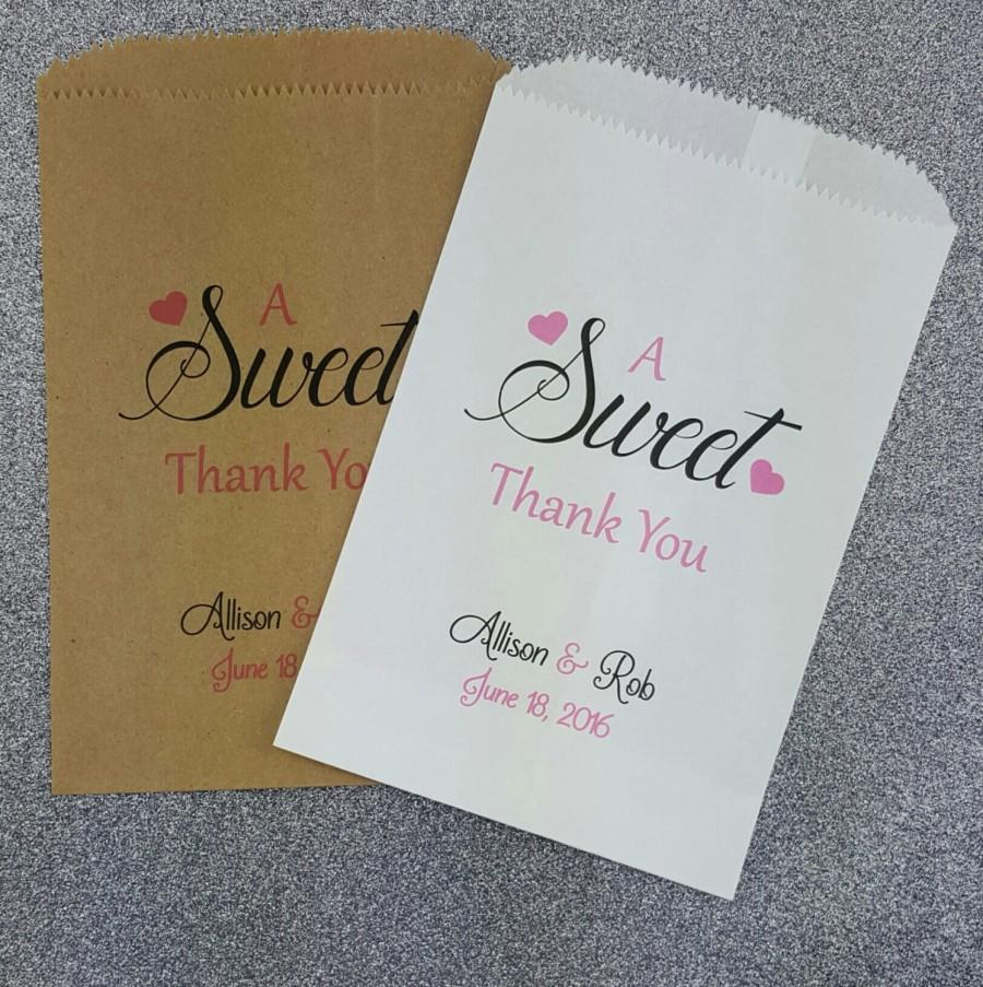 A Sweet Thank You Wedding Candy Bag Buffet Favor Bags Treat Kraft Personalized Paper