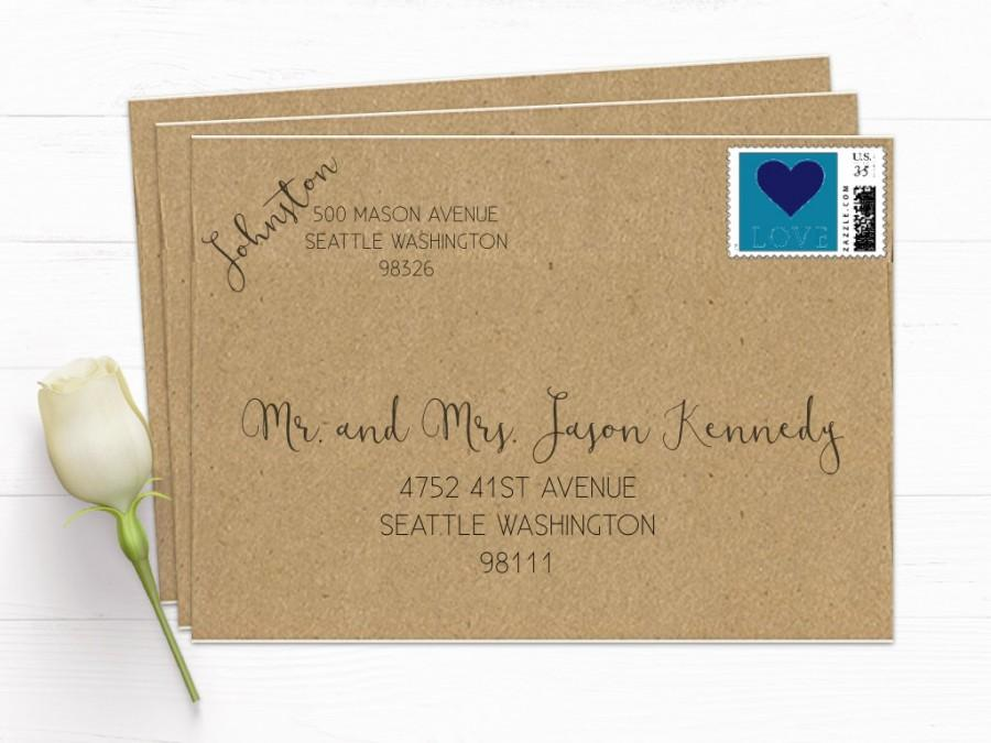 Recipient And Return Address Calligraphy Look Printing Rsvps Wedding Envelope Shipping Included Product 5668gfd1