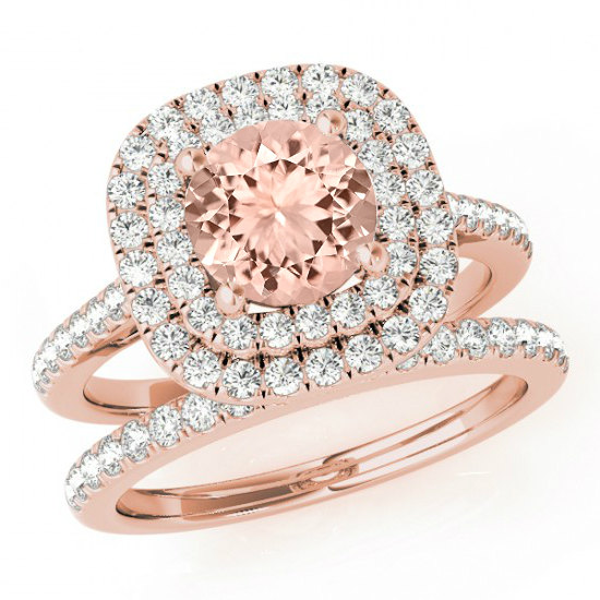 Michael Raven Jewelry Morganite Diamond Double Halo Engagement Ring Wedding Set 14k Rose Gold Sets Rings For Women 1 Ct