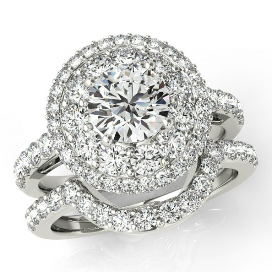 2 Carat Forever One Moissanite Diamond Halo Wedding Set Bridal For Women Engagement Rings 1 Center Mother S Day