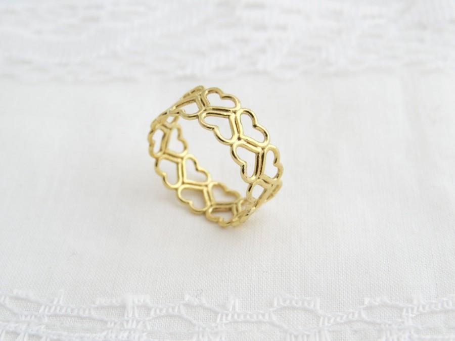 Heart Wedding Band 14k Solid Gold Heart Ring Heart Wedding Ring
