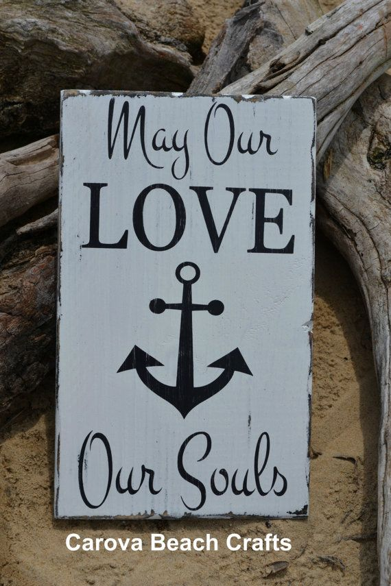 Beach Wedding Sign Anchor Decor Gift Idea Faith Hope Love Soul Verse Engaged Nautical Anchors Religious Scripture Rustic Wood Signs