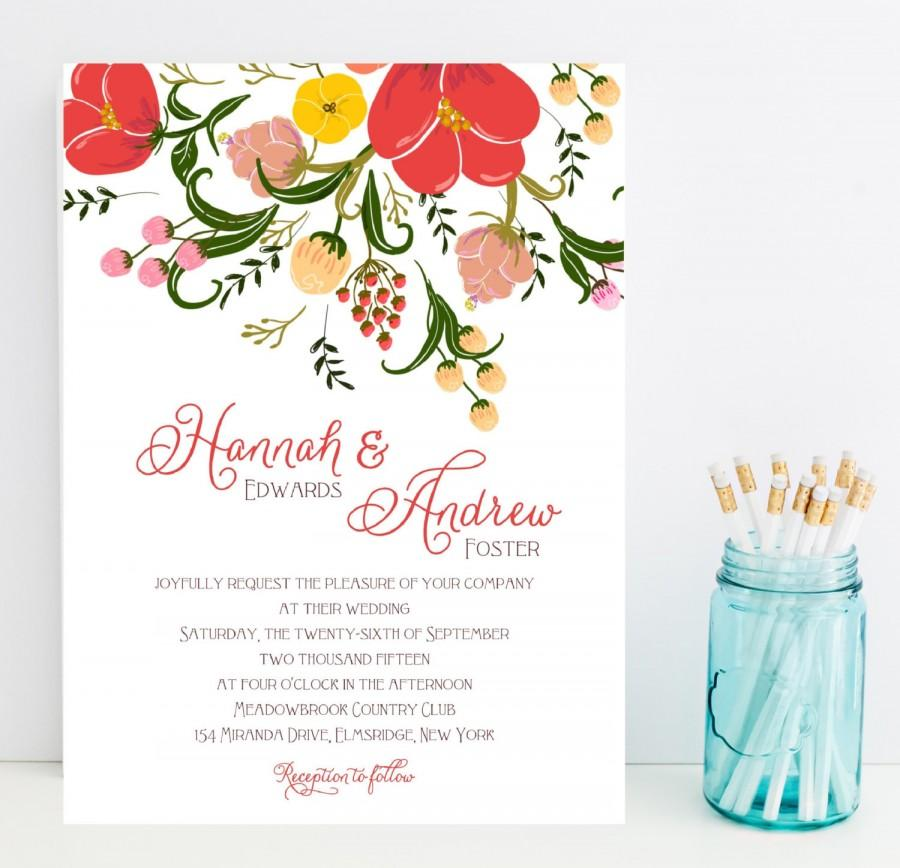Fast Wedding Invitations Large Flower Fl Watercolor Style Invitation Poppy Poppies Statement