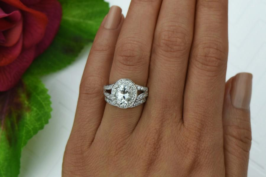 3 Ctw Split Shank Wedding Set Oval Engagement Ring Halo Bridal Man Made Diamond Simulants Contour Band Sterling Silver