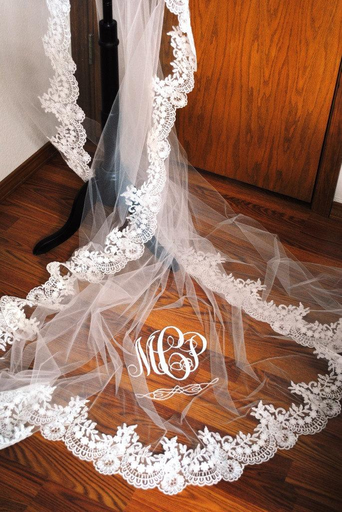 Monogrammed Reembroidered Lace Edged Cathedral Veil
