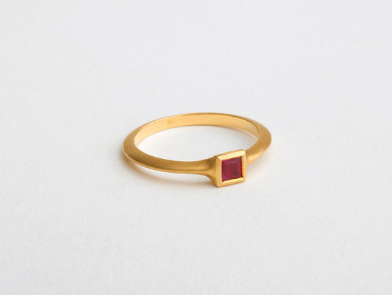 Minimalist Square Ruby Ring Ruby Engagement Gold Ring Dainty