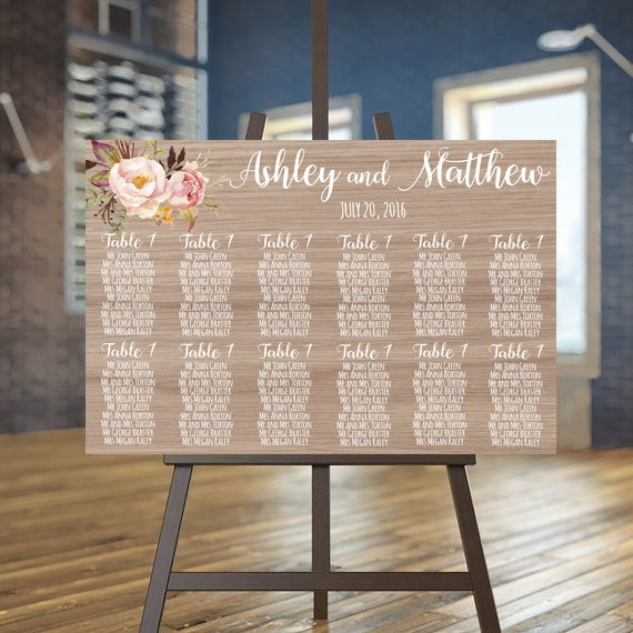 Wedding Seating Chart Printable Wood Guests List Rustic Plan Guest Custom Sign
