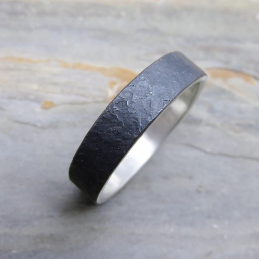 Rugged Stone Texture Wedding Band For Men Or Women Distressed Silver Ring 5mm Flat In Blackened Matte Sterling