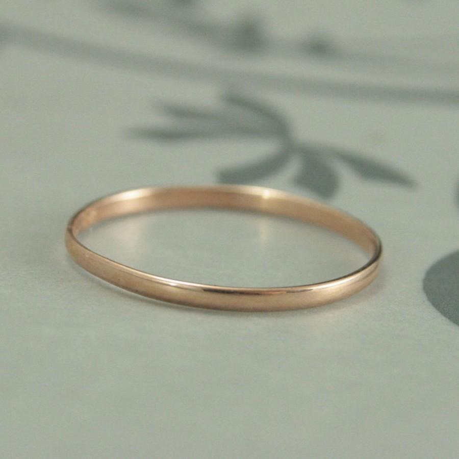 10k Rose Gold 1 5mm Skinny Minnie Plain Jane Half Round Band Women S Wedding Hand Made Ring