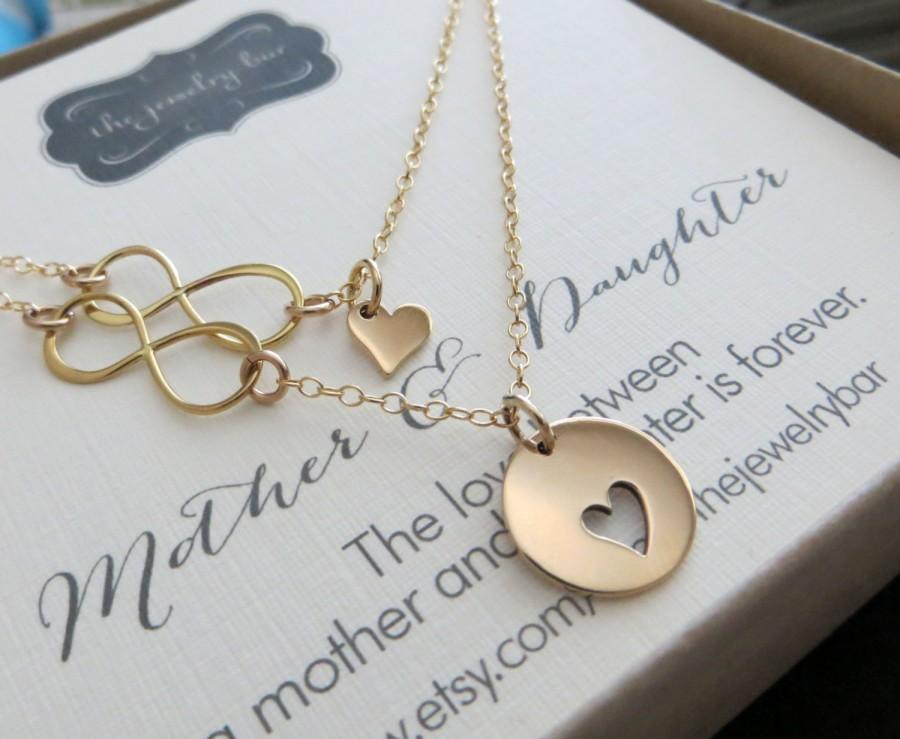 Mother Of The Bride Gift And Daughter Necklace Jewelry Heart Infinity Link Wedding Day
