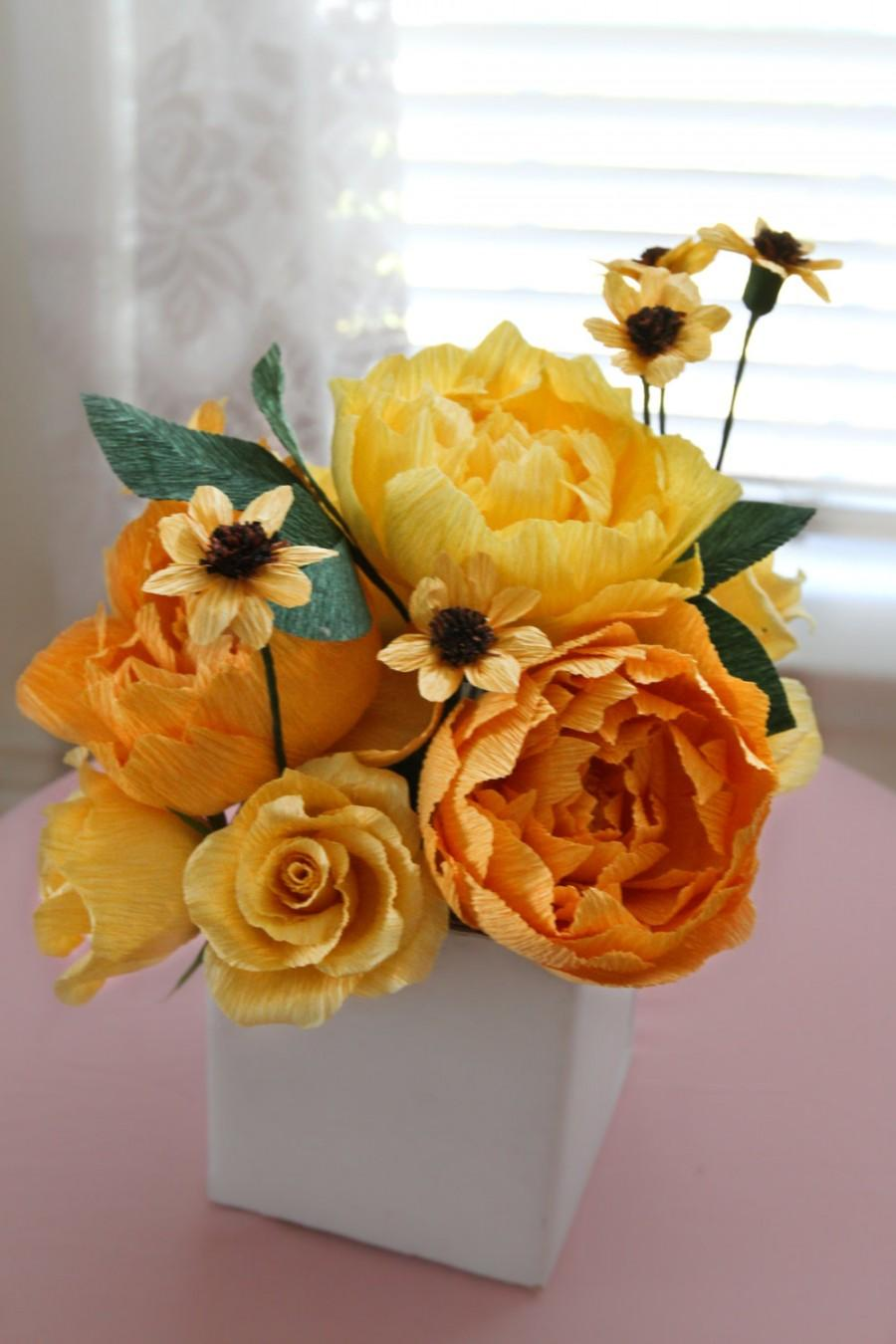 1 Yellow Shade Peonies Centerpiece Paper Flowers Wedding Centerpieces Bridal Bouquet Crepe