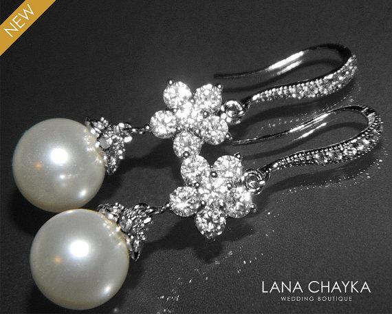 White Pearl Silver Cz Bridal Earrings Drop Dangle Swarovski 10mm Wedding Jewelry