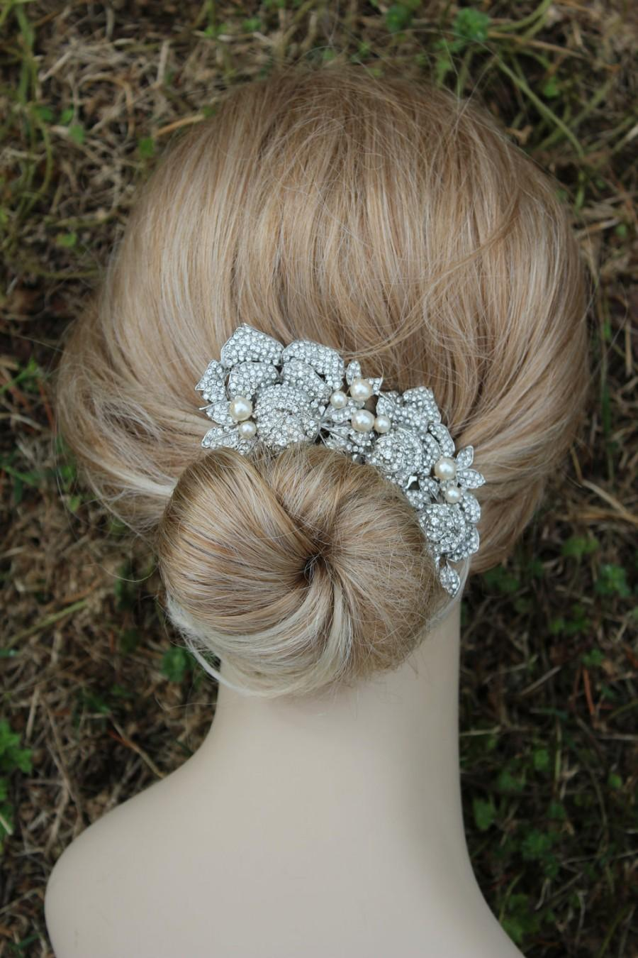 sale- bridal hair comb, crystal hair comb, swarovski comb, roses