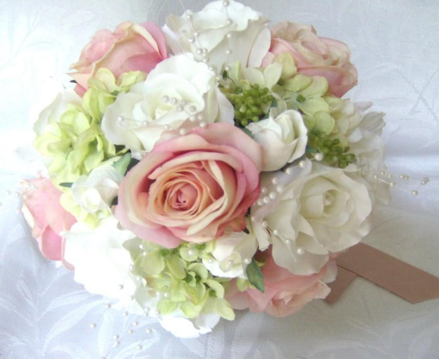 Wedding Bouquets And Boutonnieres 7 Piece Set Silk Bridal Pink Blush Roses Creme White Green Hydrangea