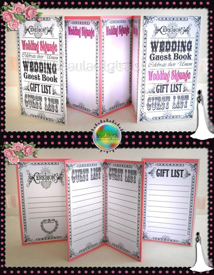 Vintage Wedding Guest Book Steam Punk Accordian Style Signage Gift Lists Printable Jpeg Instant