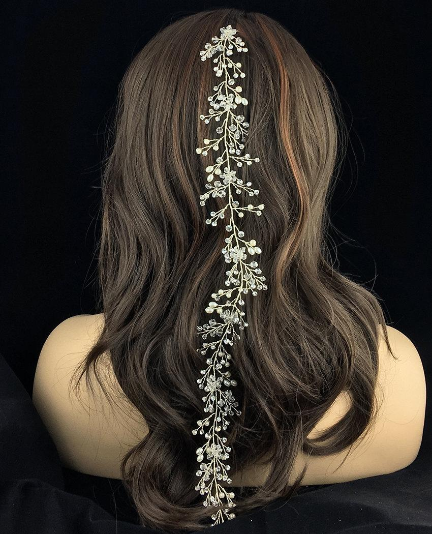 wedding hair vine, rhinestone bridal flexible hair vine, crystal