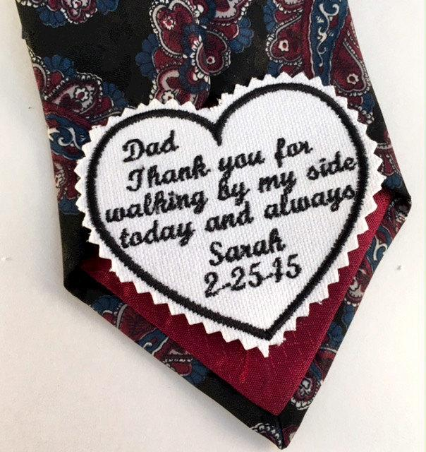 Personalized Wedding Tie Patch Father Of The Bride Thank You Dad Day Accessories Bridal