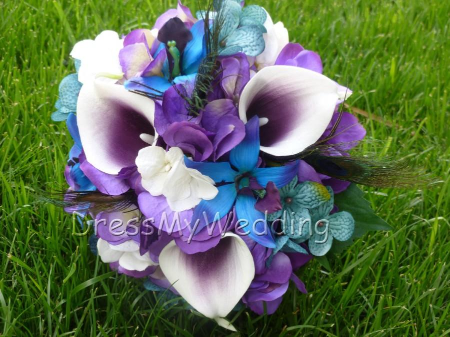 purple calla lily wedding bouquets purple hydrangea and picasso calla bouquet small 6885