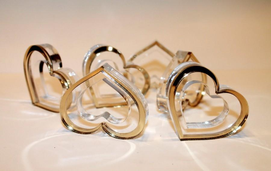 Wedding Napkin Ring In Gold Heart Rings Decor Holders Tableware