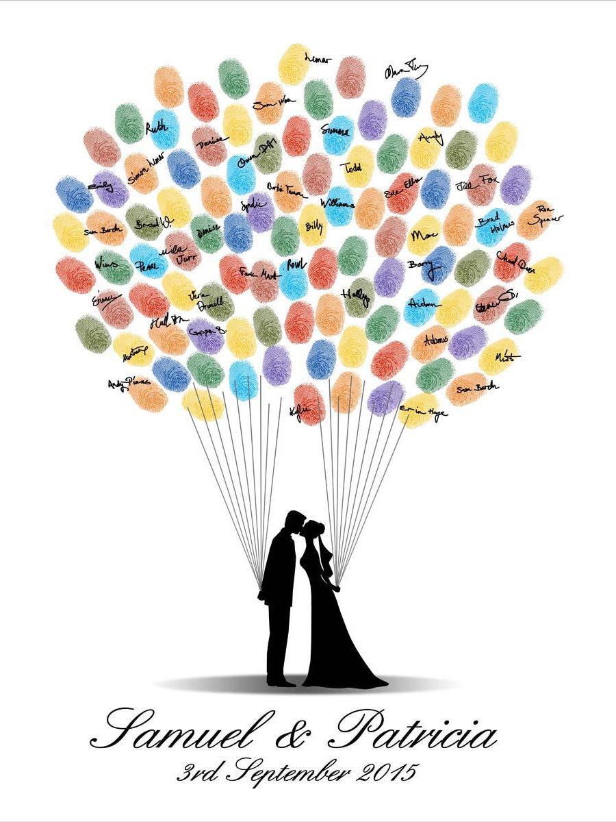 Wedding Guest Book Fingerprint Digital Printable Jpeg Guestbook Thumbprint Custom Color Size Text