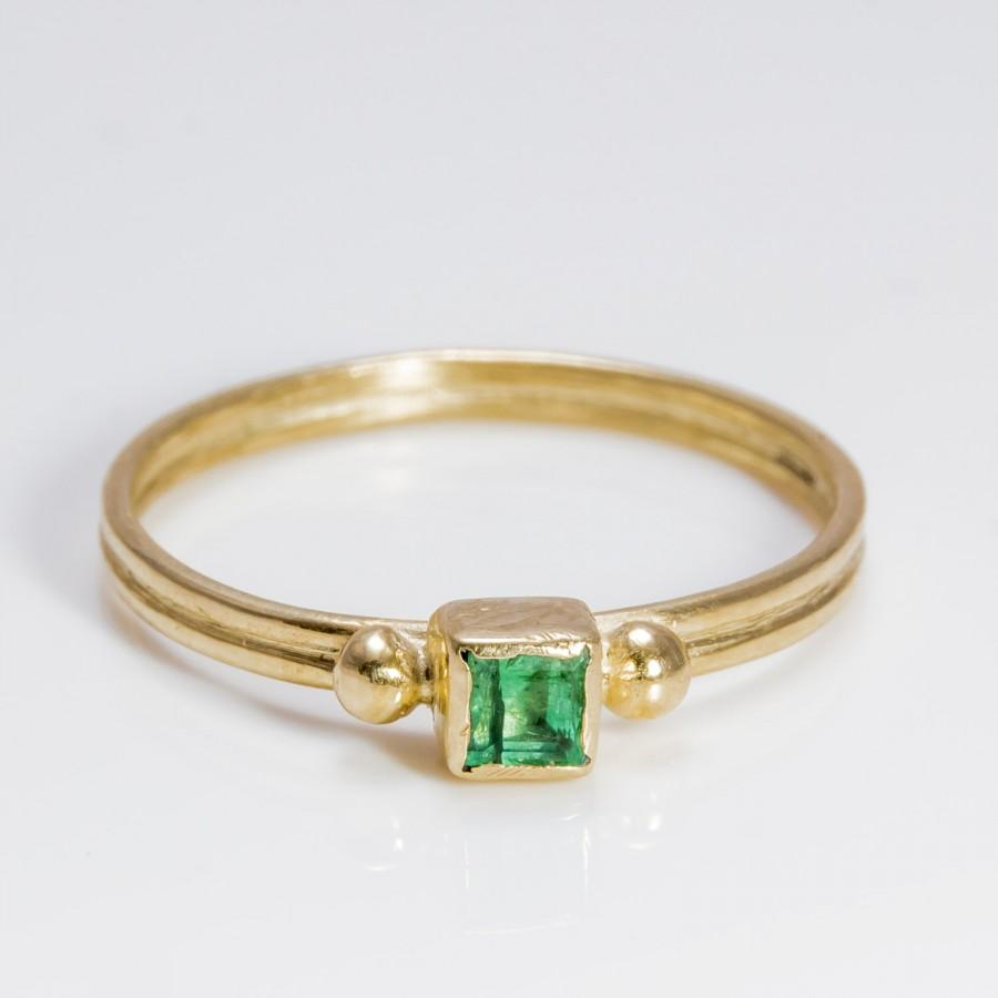 Emerald Gold Ring Engagement 9k
