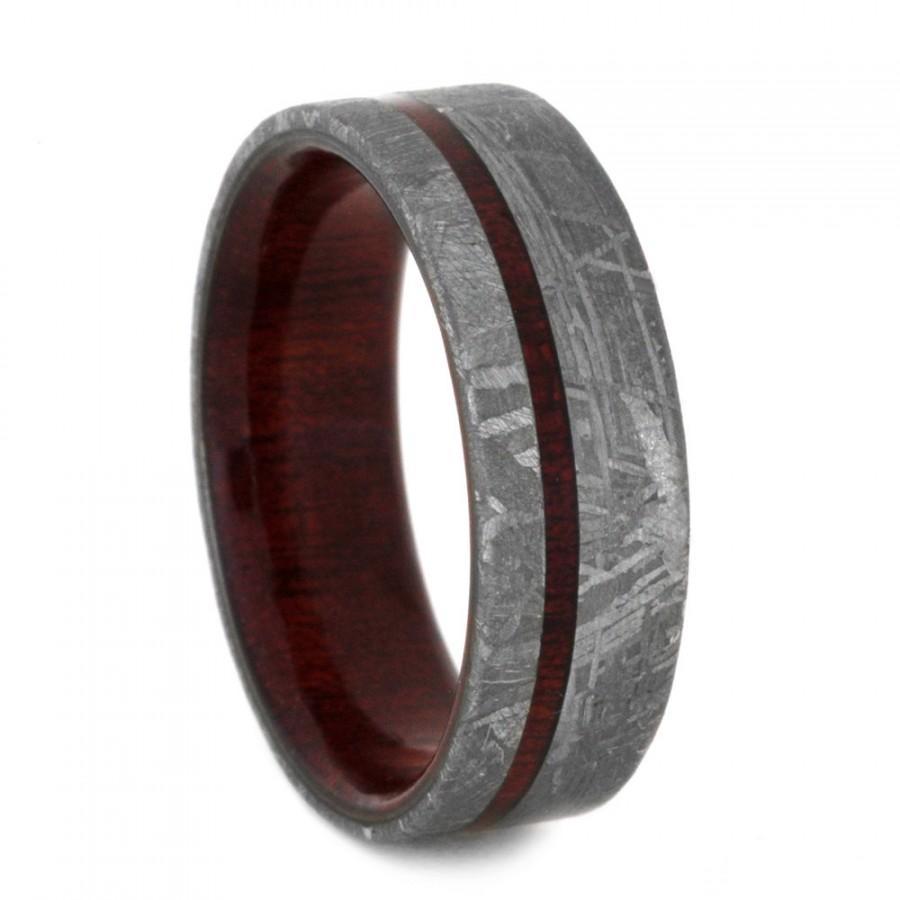 Meteorite Wedding Band Custom Ring With Bloodwood Sleeve And Pinstripe Men S Wood