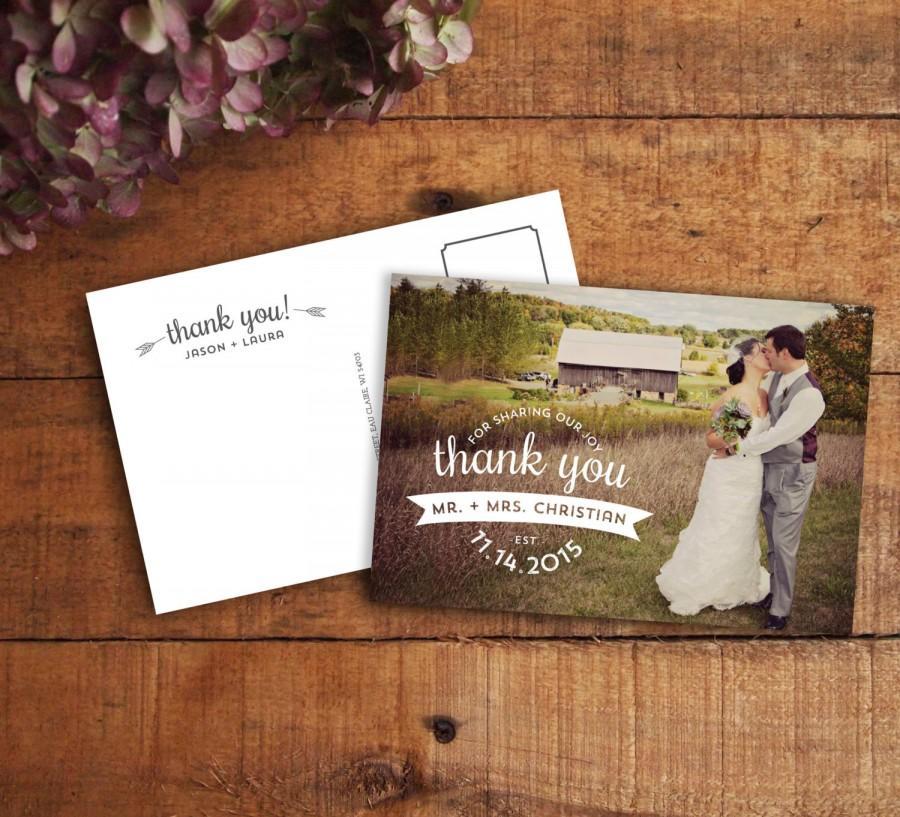 Thank You Card Wedding Postcard Photo Printable