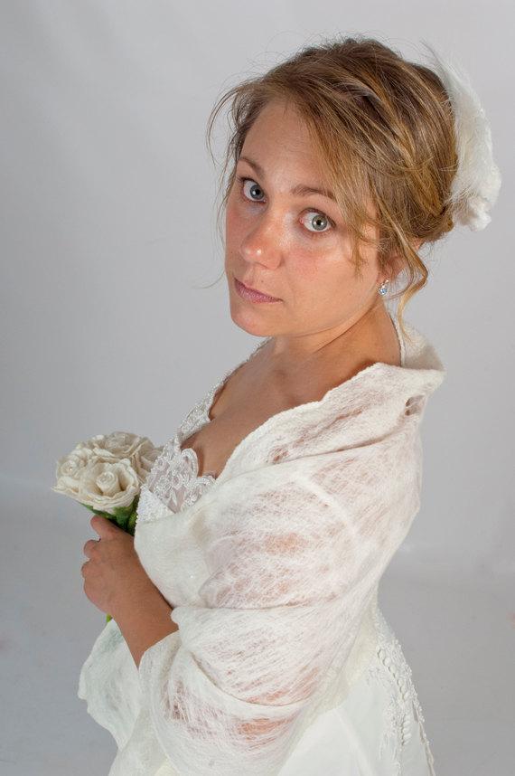 Bridal Shawl Shrug Ivory Felted Lace Wedding Wrap Cobweb Style Cover Up