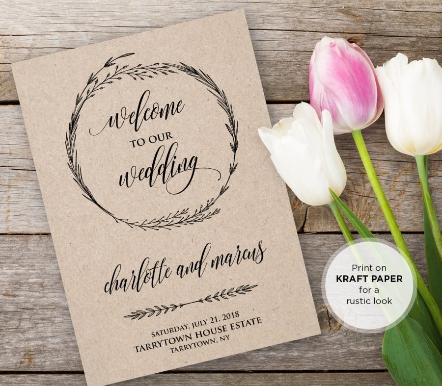 Wedding Program Template Instant Editable Text Printable Ceremony Order Of Service Kraft Pdf File Digital