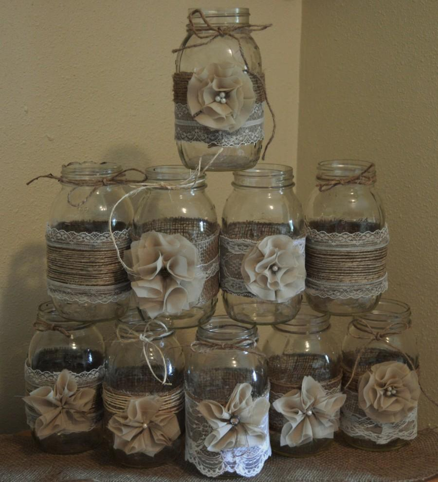 Set Of 10 Mason Jar Sleeves Burlap Wedding Decorations Rustic Centerpieces And Lace Jars