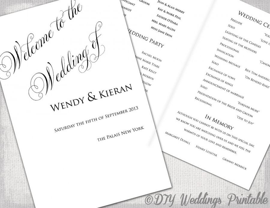 Wedding Program Template Diy Ceremony Printable Black White Parfumerie Any Color You Edit Digital